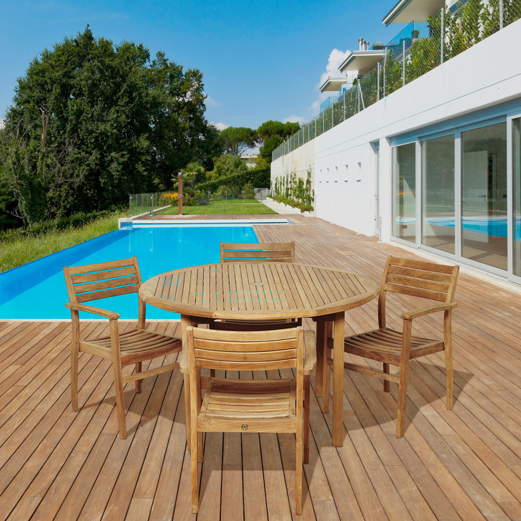 Alex 5 Piece Teak Round Patio Dining Set , International Home Miami- grayburd