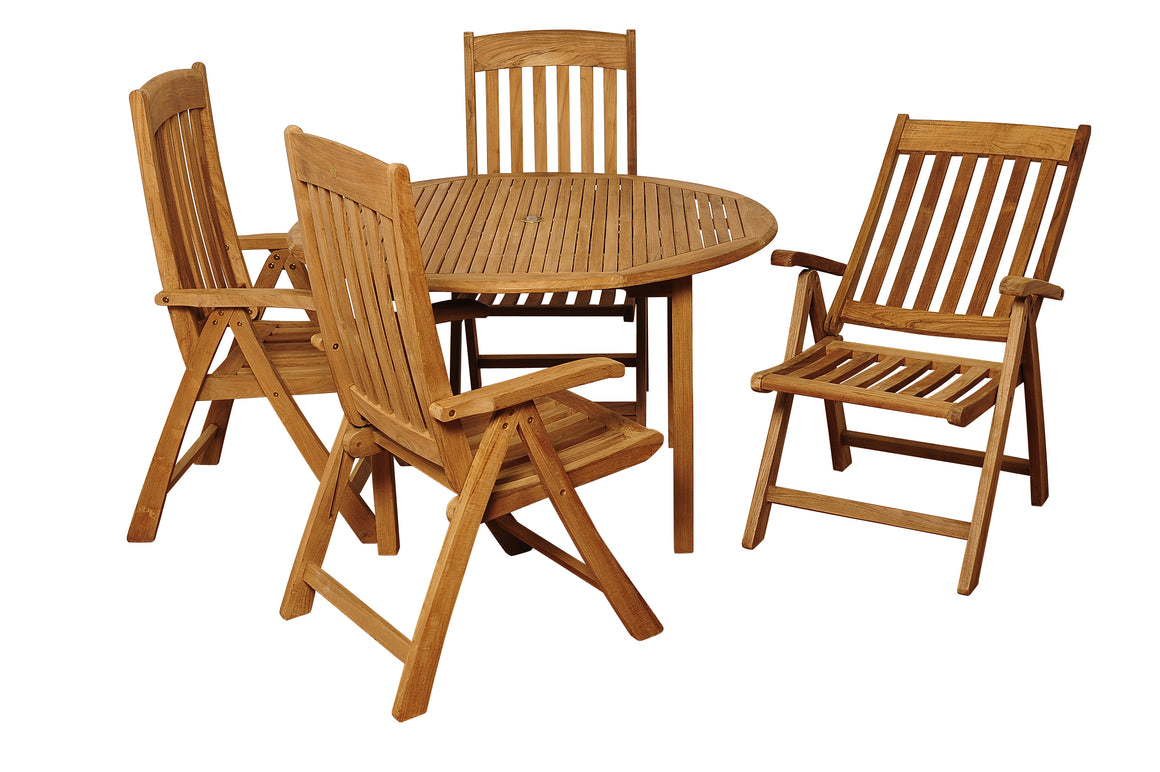 Allen 5 Piece Teak Round Patio Dining Set , International Home Miami- grayburd