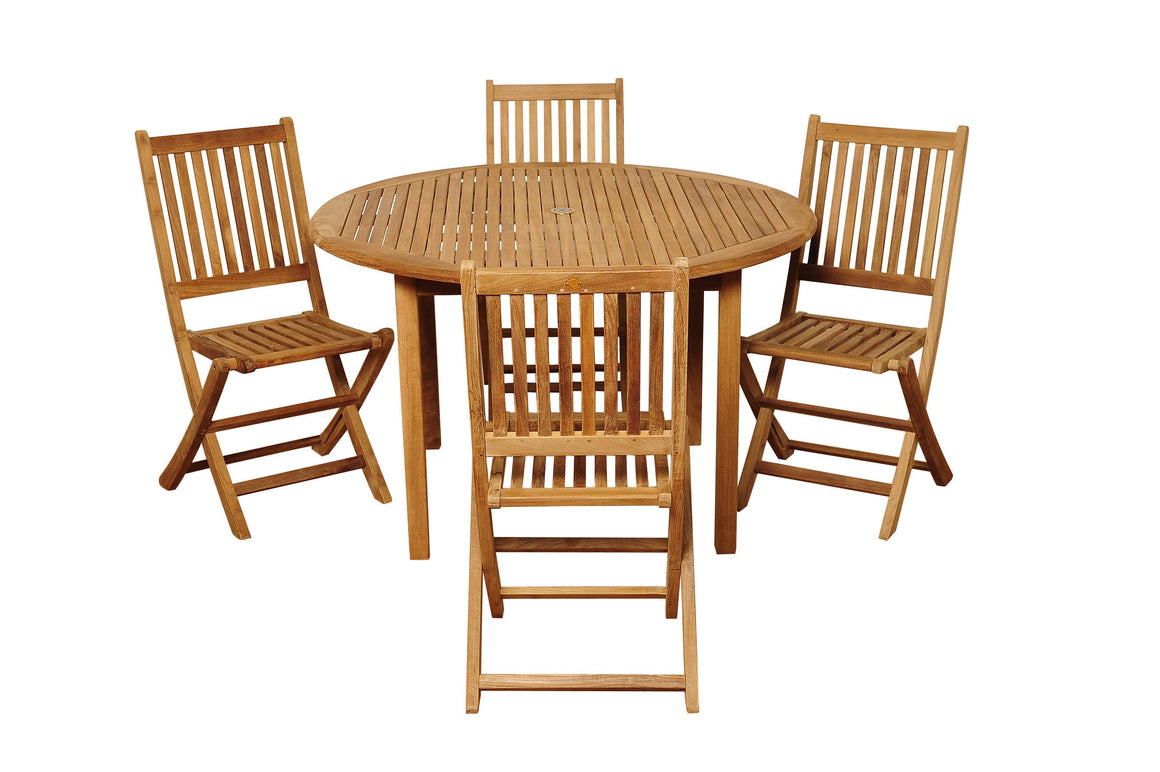 Adam 5 Piece Teak Round Patio Dining Set , International Home Miami- grayburd