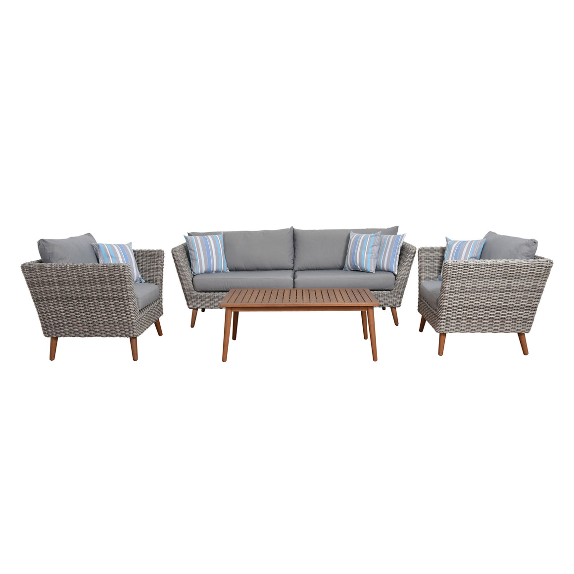 Amazonia Boston 4 Piece Conversation Set with Cushions , International Home Miami- grayburd