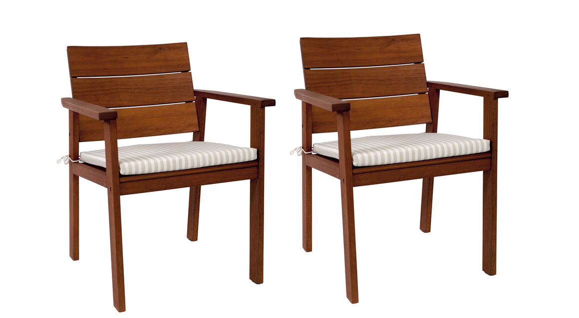Nelson Eucalyptus Easy Carver 2 piece Patio Chair Set , International Home Miami- grayburd