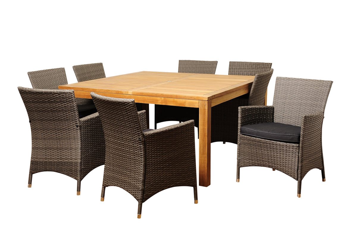 Ralph 9 Piece Teak/Wicker Square Dining Set with Grey Cushions , International Home Miami- grayburd