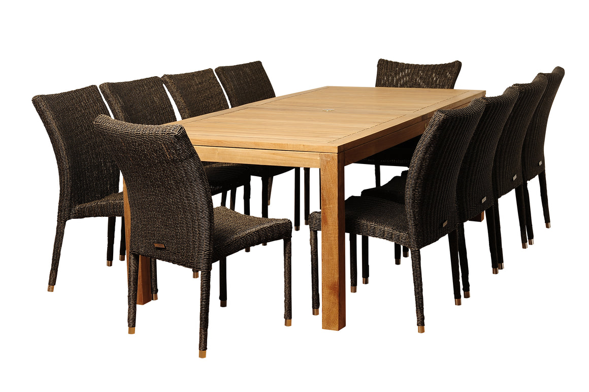 Christopher 11 Piece Teak/Wicker Rectangular Patio Dining Set , International Home Miami- grayburd