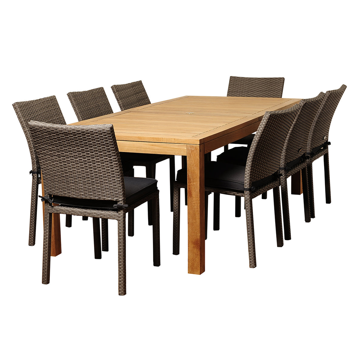 Damian 9 Piece Teak/Wicker Rectangular Patio Dining Set with Grey Cushions , International Home Miami- grayburd