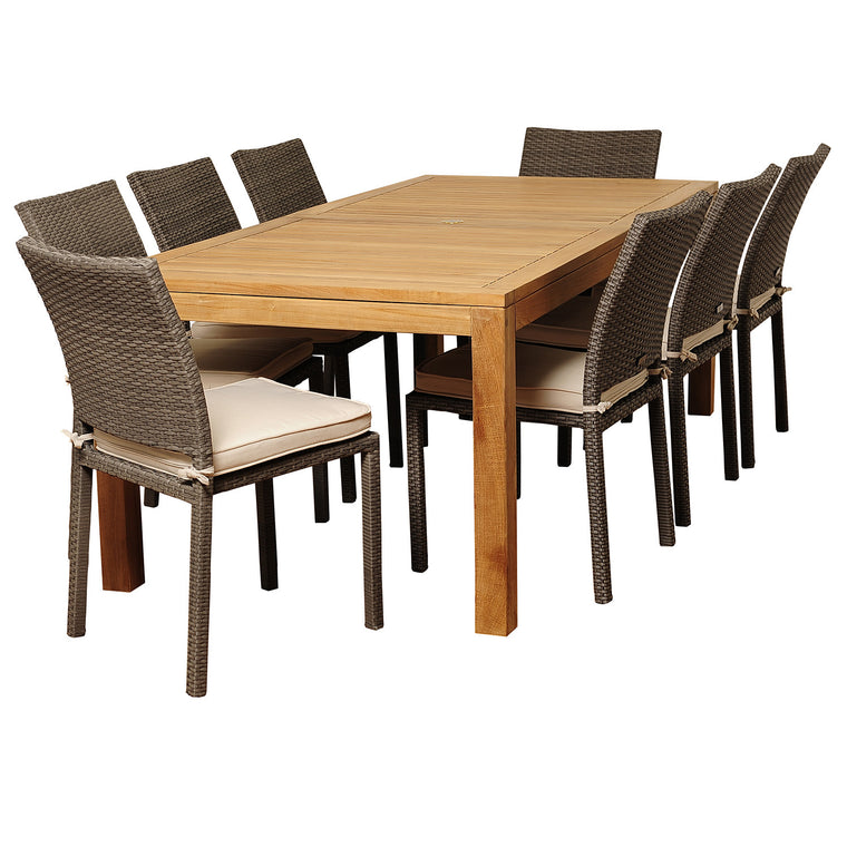 Damian 9 Piece Teak/Wicker Rectangular Patio Dining Set , International Home Miami- grayburd