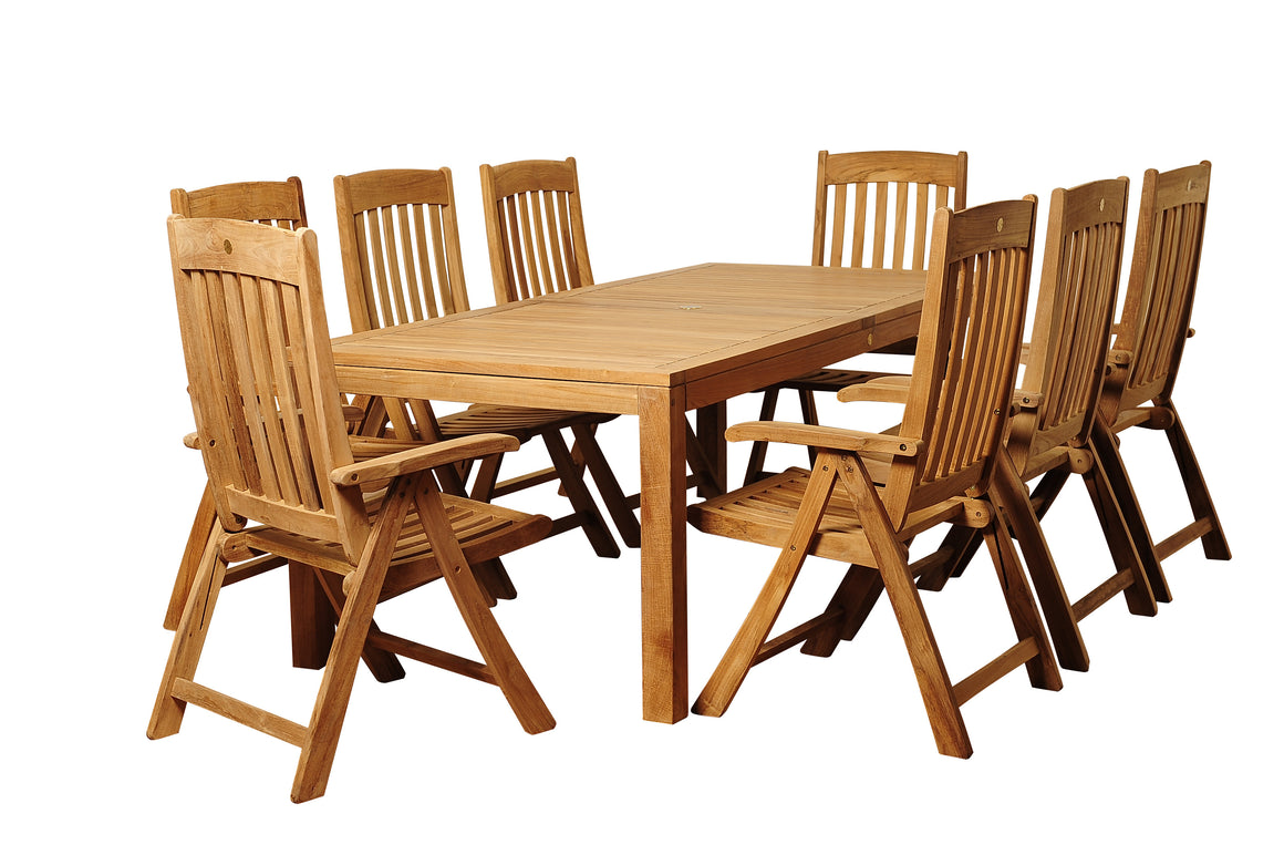Chase 9 Piece Teak Rectangular Patio Dining Set , International Home Miami- grayburd