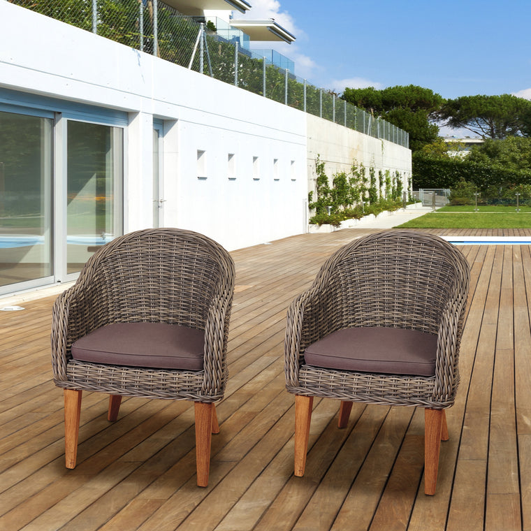 Amazonia Guam 2 Piece Teak/Wicker Arm Chair Set , International Home Miami- grayburd