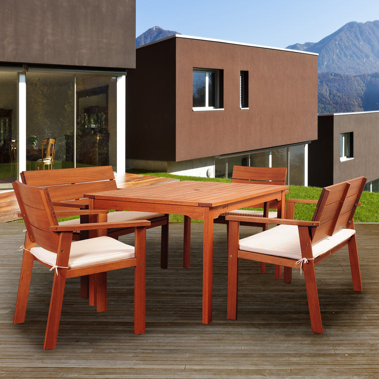 Amazonia Nelson 5 Piece Eucalyptus Rectangular Dining Set with Striped Beige and Off , International Home Miami- grayburd