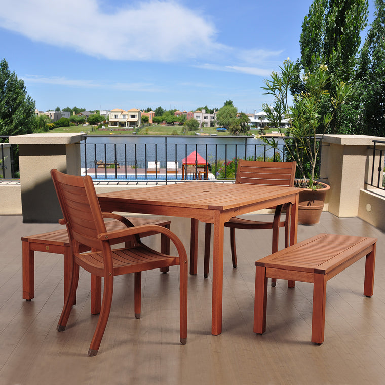 Amazonia Richfield 5 Piece Eucalyptus Rectangular Dining Set , International Home Miami- grayburd