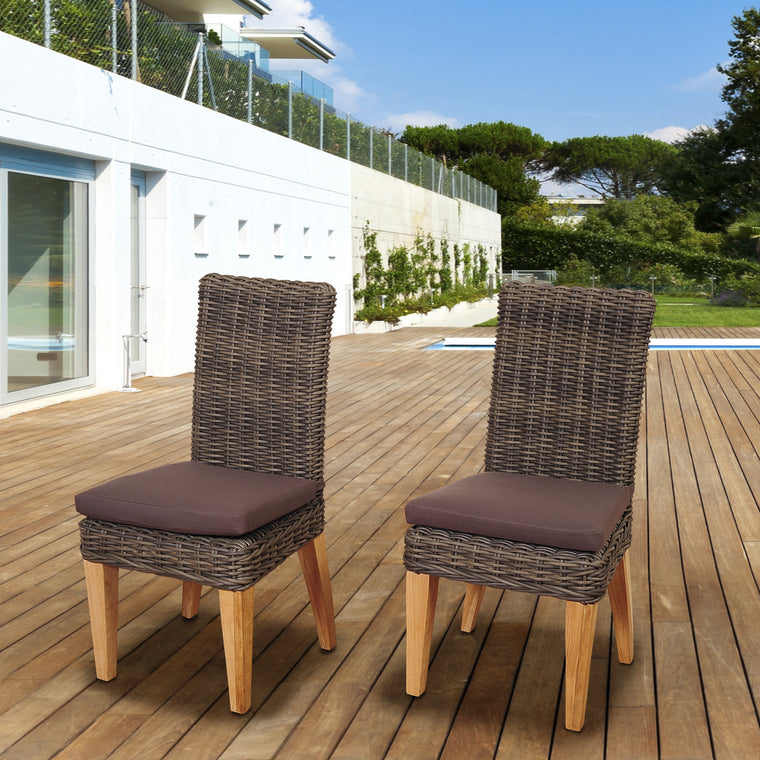 Amazonia Singapore 2 Piece Teak/Wicker Chair Set , International Home Miami- grayburd