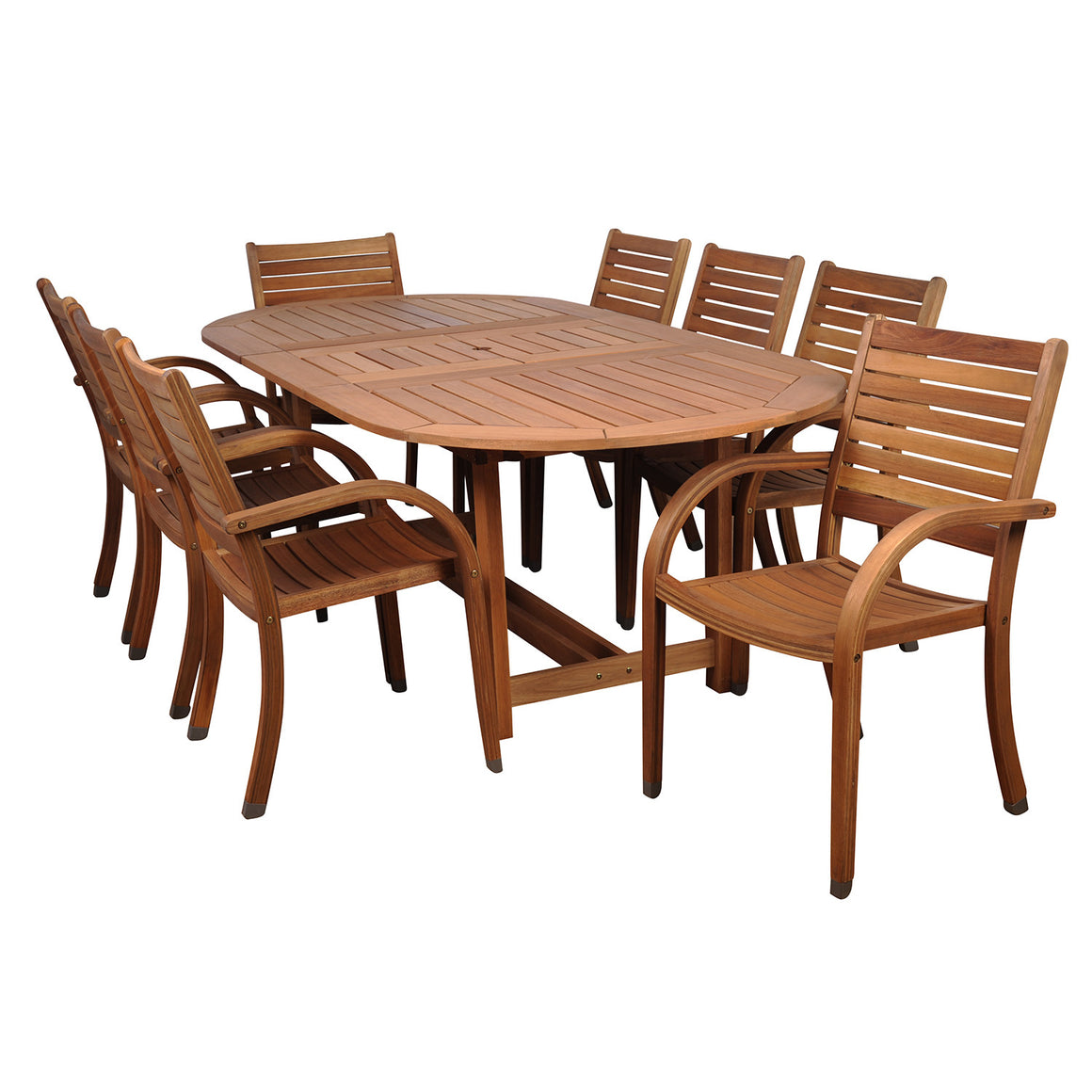 Arizona 9 Piece Eucalyptus Extendable Oval Patio Dining Set , International Home Miami- grayburd