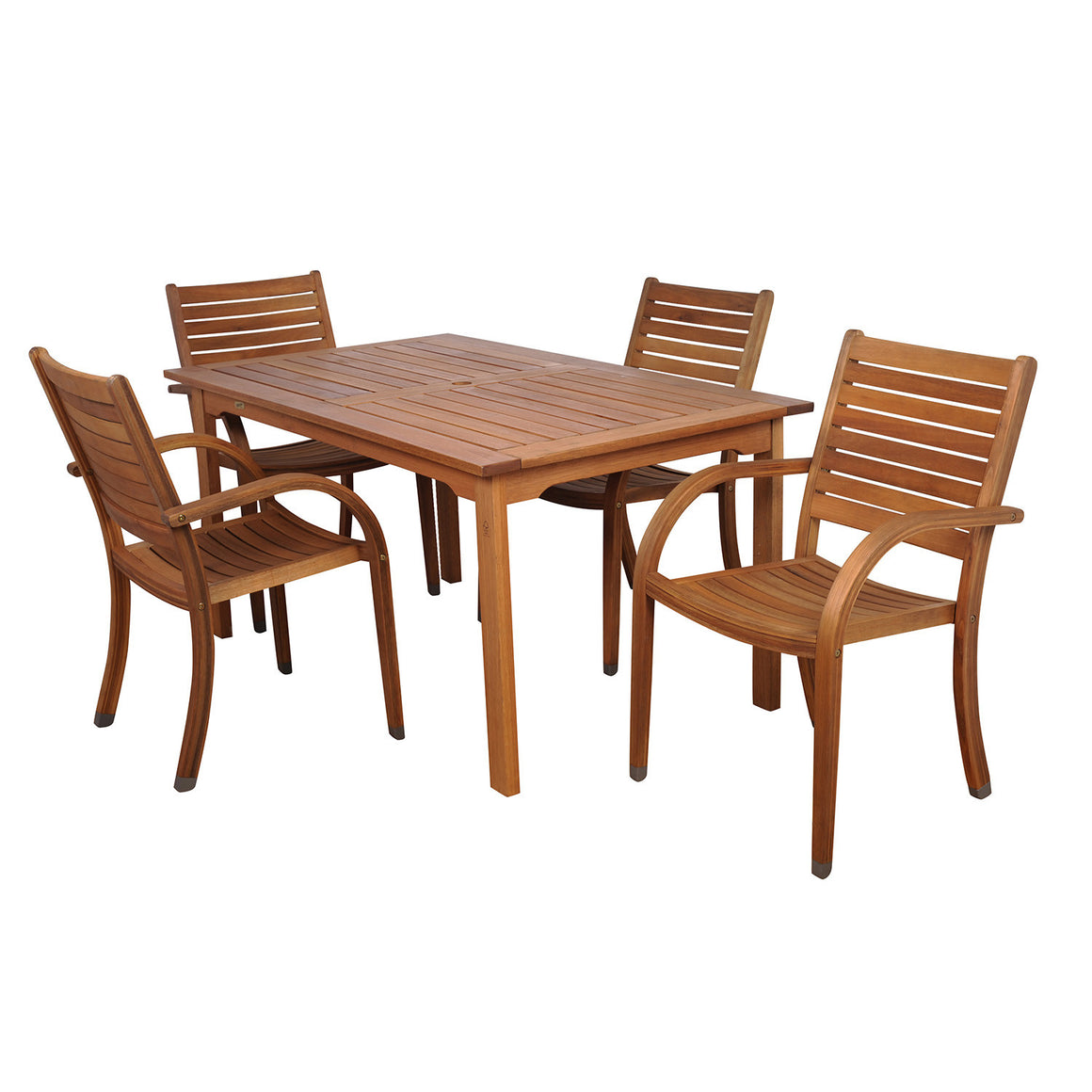 Arizona 5 Piece Eucalyptus Rectangular Patio Dining Set , International Home Miami- grayburd