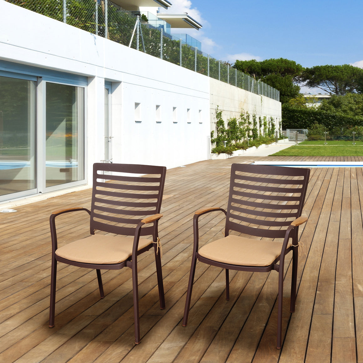 Amazonia Clemente 4 Piece Teak/Cast Aluminum Arm Chair Set with Tan Cushions , International Home Miami- grayburd
