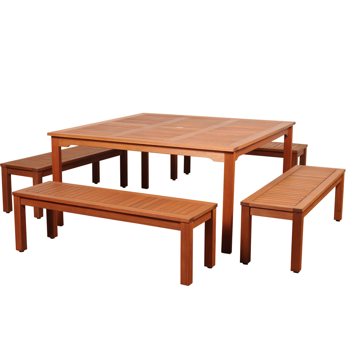 Amazonia Richfield 5 Piece Eucalyptus Square Dining Set , International Home Miami- grayburd