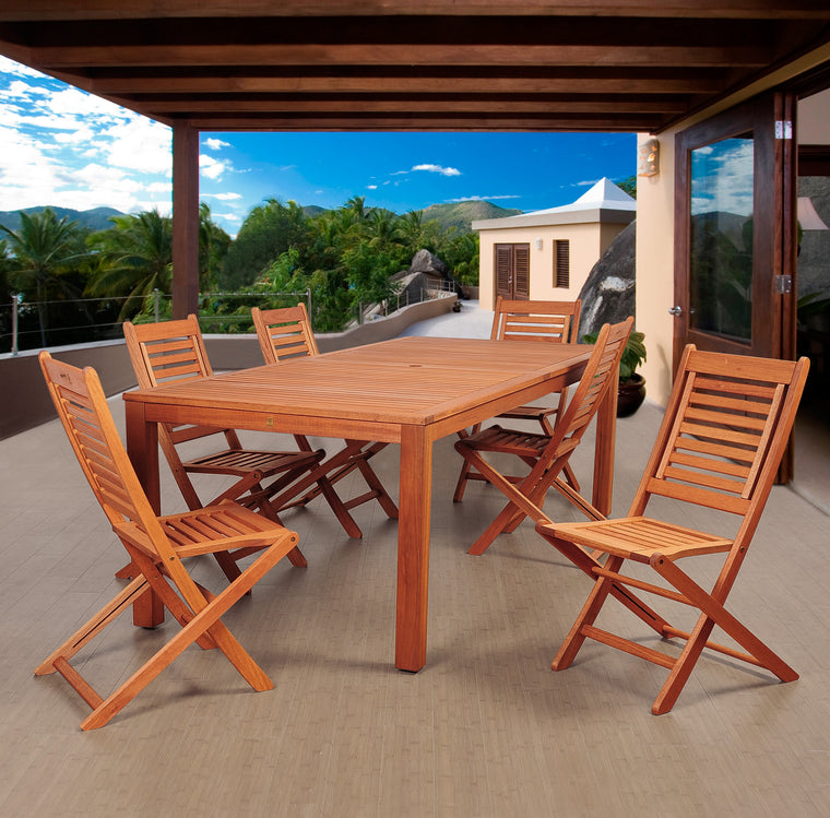 Amazonia Bradford 7 Piece Eucalyptus Rectangular Dining Set , International Home Miami- grayburd