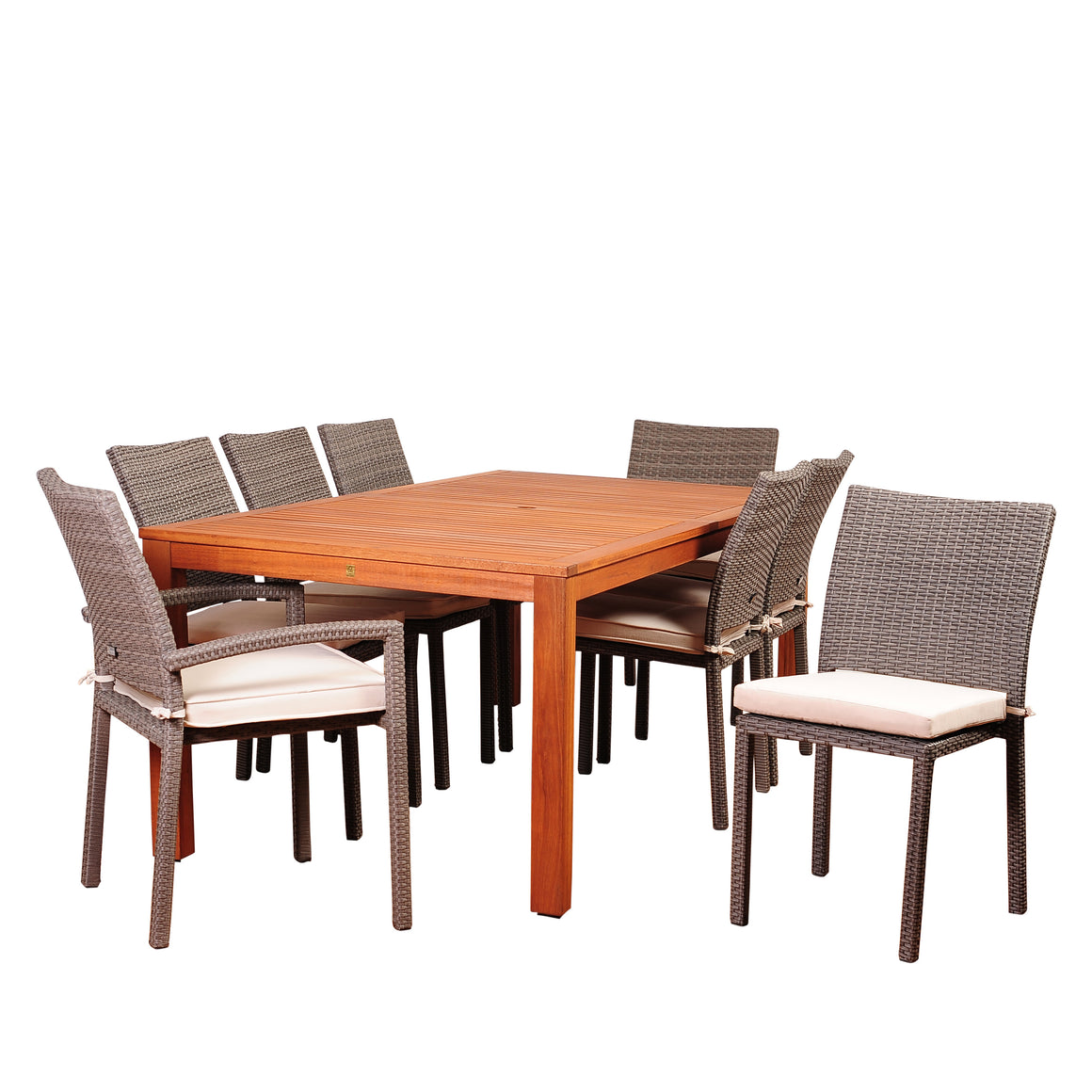 Amazonia Vienna 9 Piece Eucalyptus Rectangular Dining Set with Off , International Home Miami- grayburd