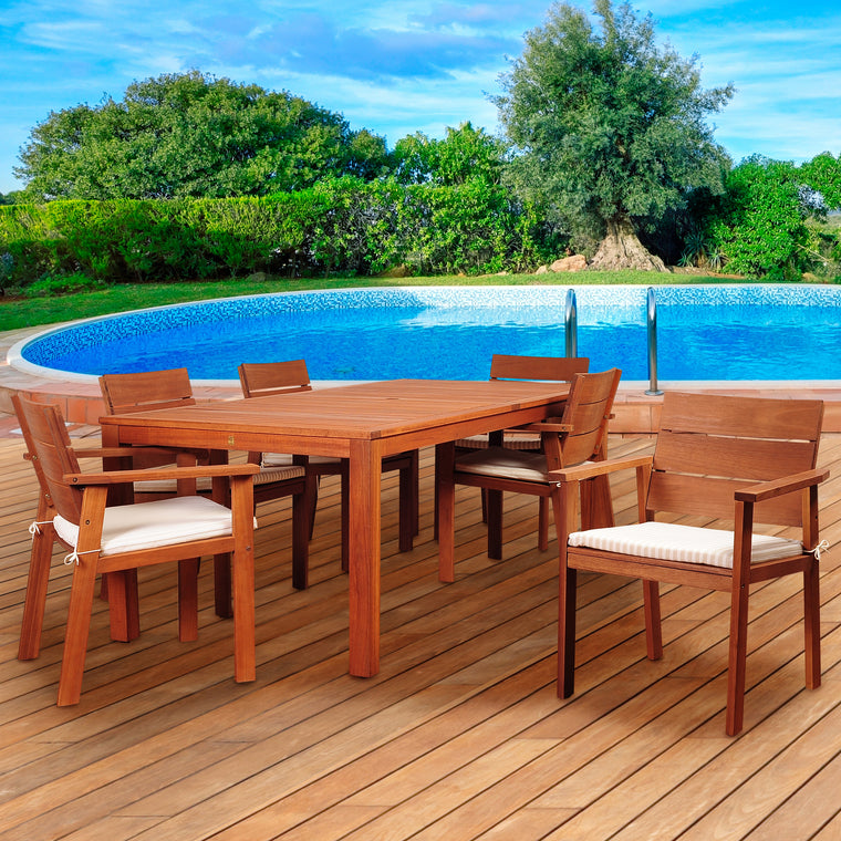 Amazonia Nelson 7 Piece Eucalyptus Rectangular Dining Set , International Home Miami- grayburd