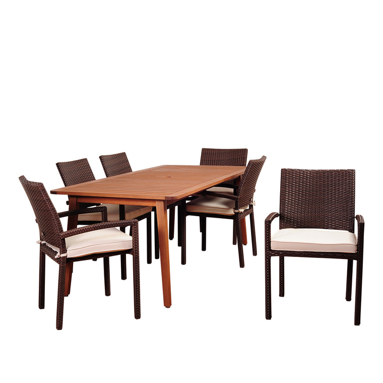 Amazonia Adelson 7 Piece Eucalyptus Rectangular Dining Set , International Home Miami- grayburd