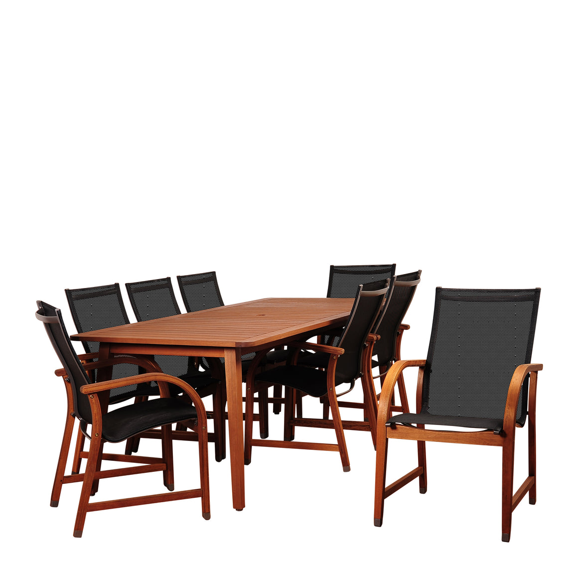 Amazonia Bahamas 9 Piece Eucalyptus Rectangular Dining Set , International Home Miami- grayburd