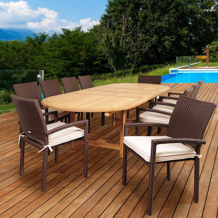 Amazonia Hillside 11 Piece Teak/Wicker Double , International Home Miami- grayburd