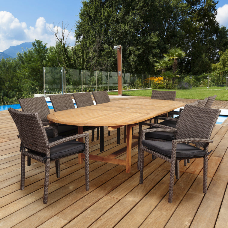 Amazonia City Villa 11 Piece Teak/Wicker Double-Extendable Oval Dining Set , International Home Miami- grayburd