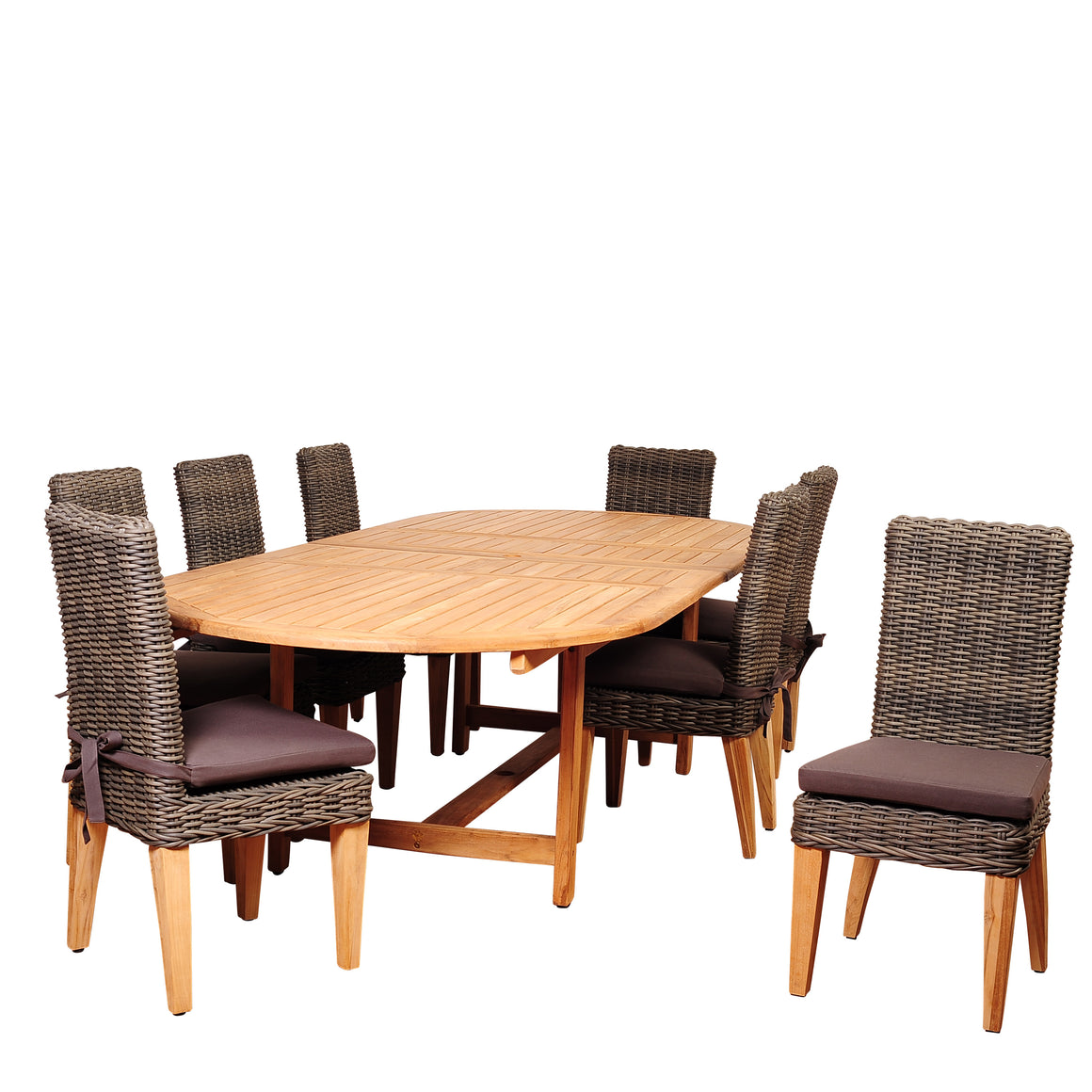 Amazonia Singapore 9 Piece Oval Dining Set , International Home Miami- grayburd