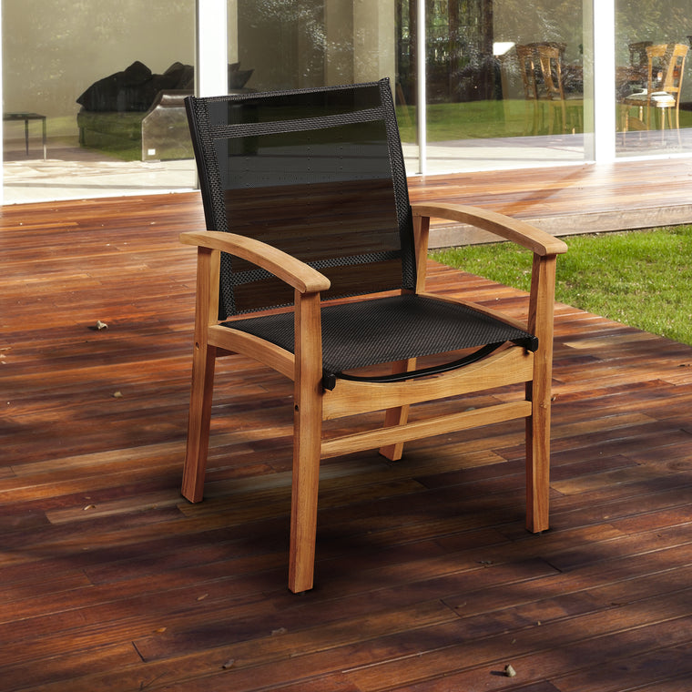 Amazonia Fortuna Teak Dining Armchair with Black Textile Sling , International Home Miami- grayburd
