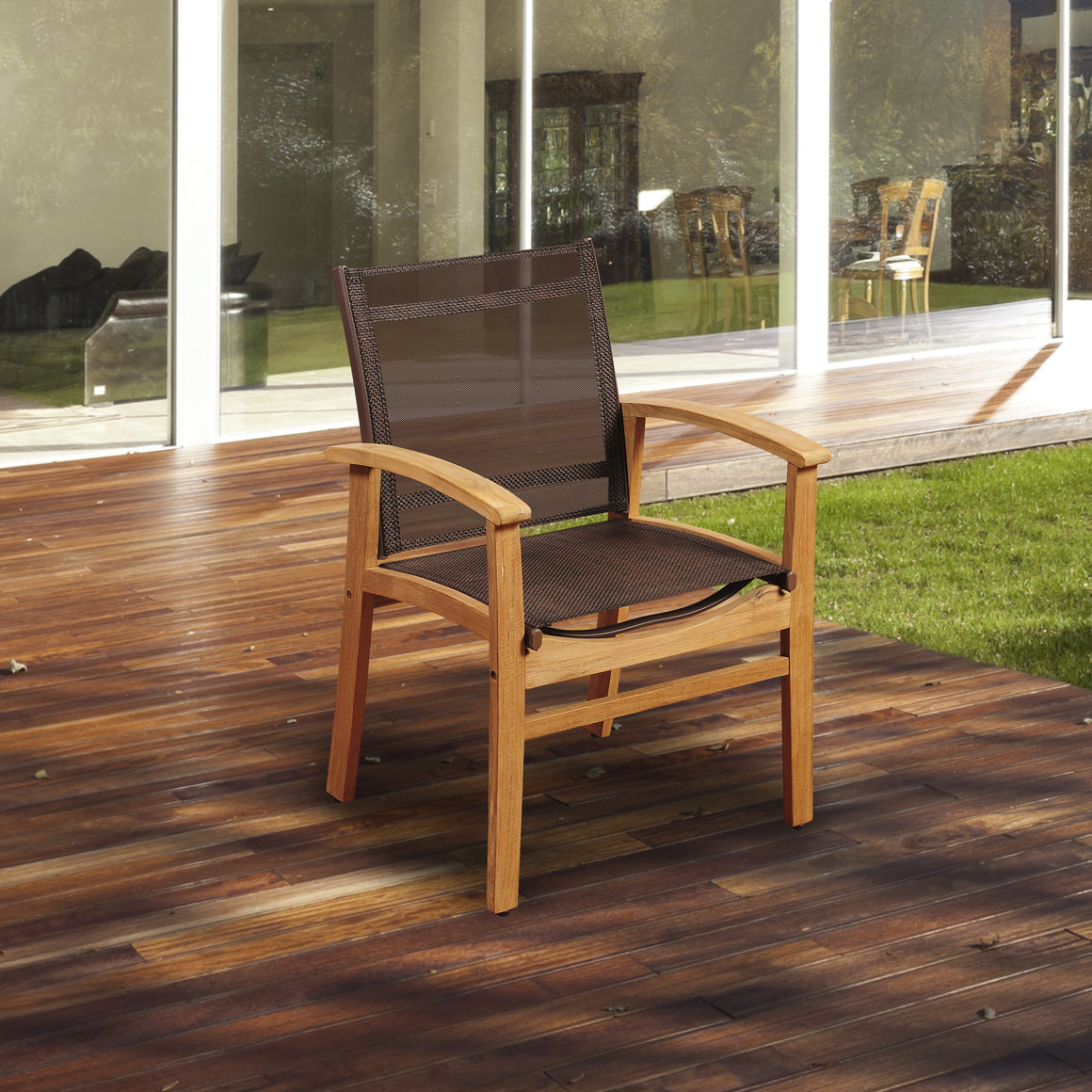 Amazonia Fortuna Teak Dining Armchair with Brown Textile Sling , International Home Miami- grayburd