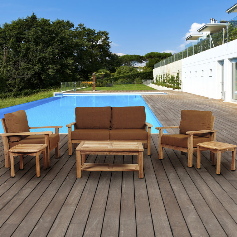 Amazonia Gilli 6 Piece Teak Conversation Set with Sunbrella® Cushions , International Home Miami- grayburd
