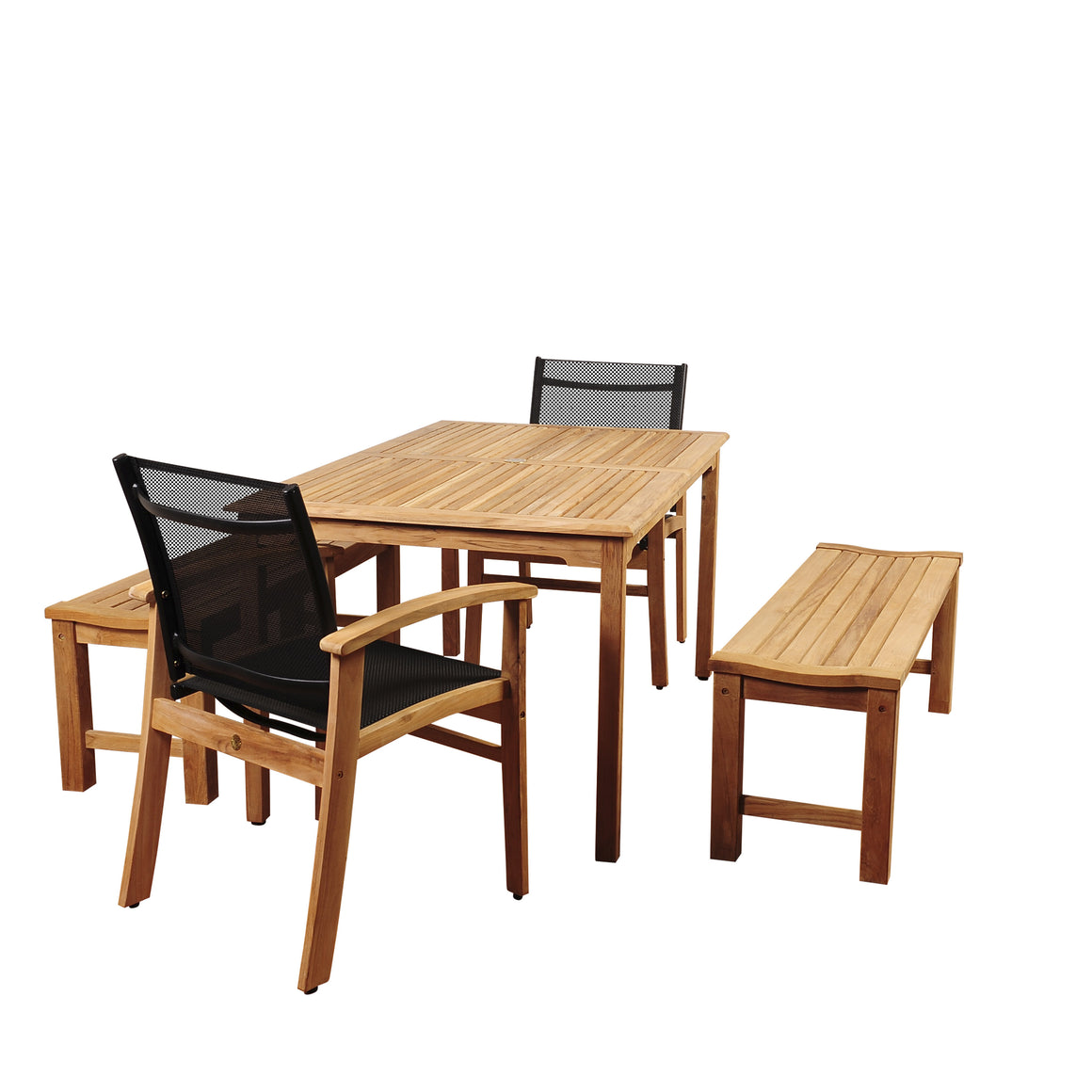 Amazonia Walnut 5 Piece Teak Rectangular Dining Set , International Home Miami- grayburd