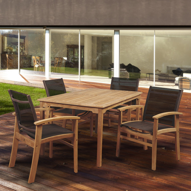 Amazonia New Pacific 5 Piece Teak Rectangular Dining Set with Brown Sling Chair , International Home Miami- grayburd