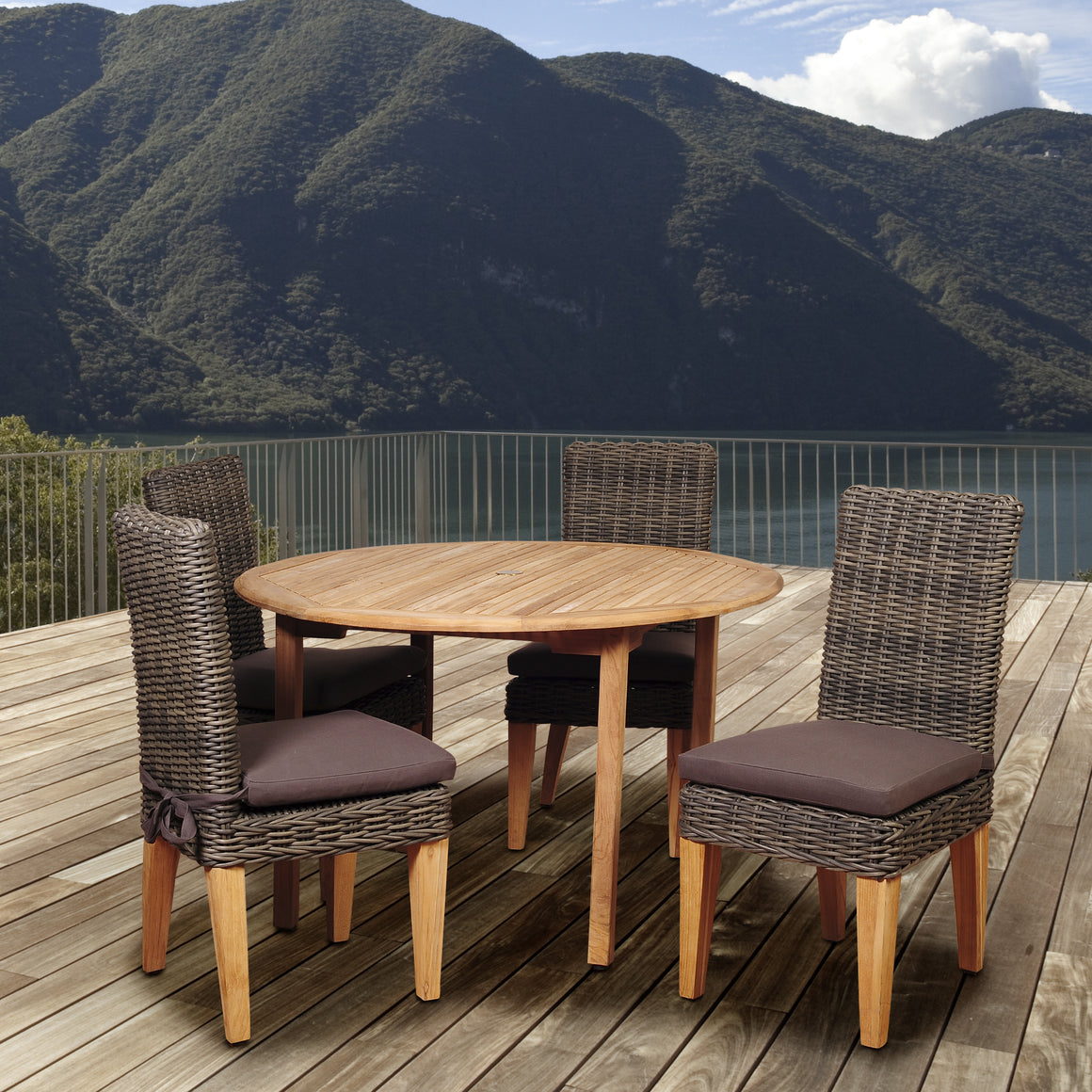 Amazonia Del Mar 5 Piece Teak/Wicker Round Dining Set , International Home Miami- grayburd