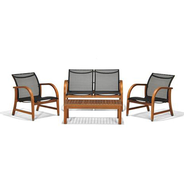 Manhattan Eucalyptus 4 Piece Patio Deep Seating Set , International Home Miami- grayburd
