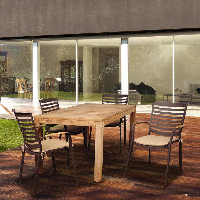 Amazonia Clemente 5 Piece Eucalyptus Rectangular Dining Set , International Home Miami- grayburd