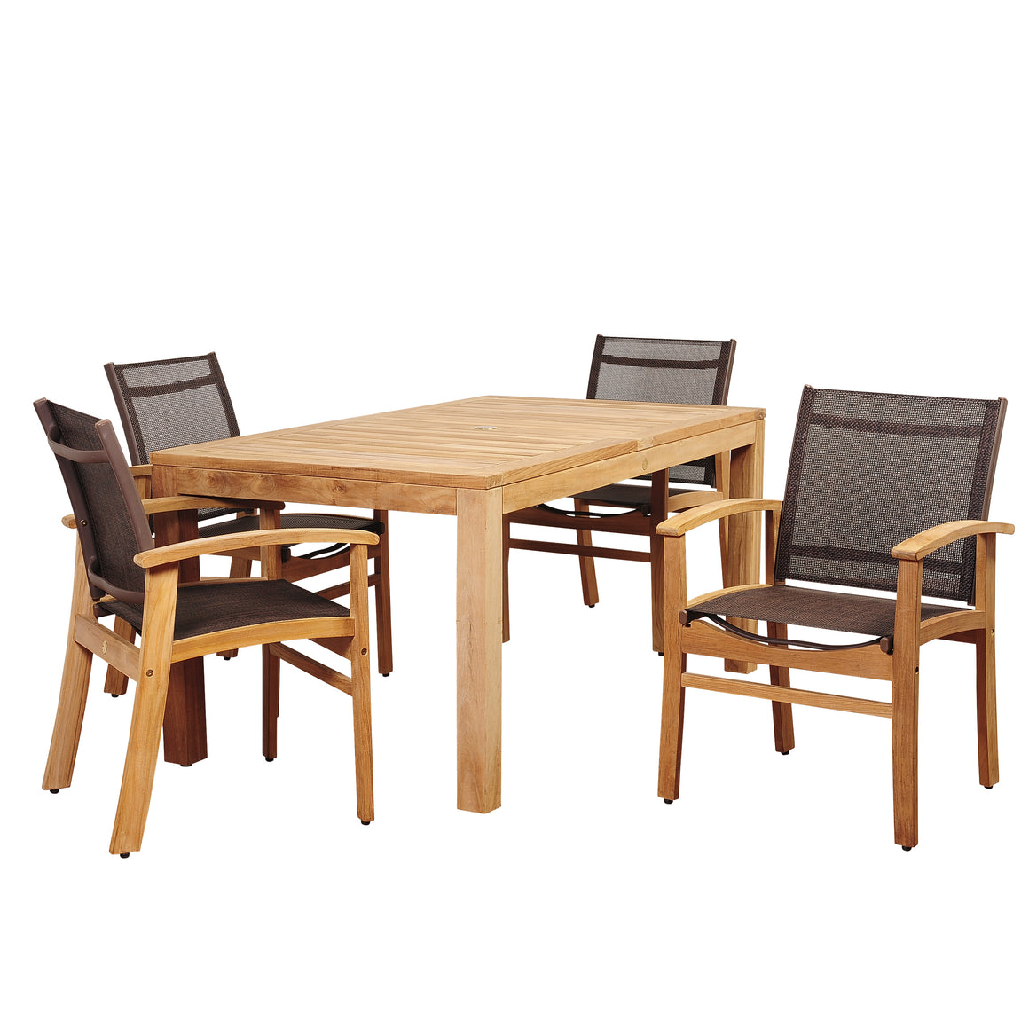 Amazonia Devlin 5 Piece Teak Rectangular Dining Set with Brown Sling Chair , International Home Miami- grayburd