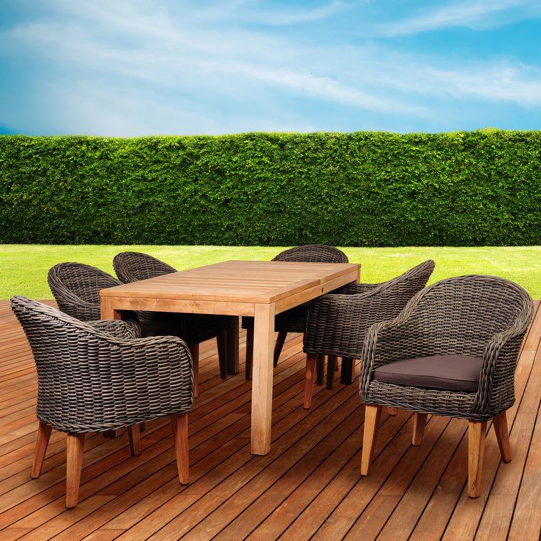 Amazonia Brynwood 7 Piece Teak/Wicker Rectangular Dining Set , International Home Miami- grayburd