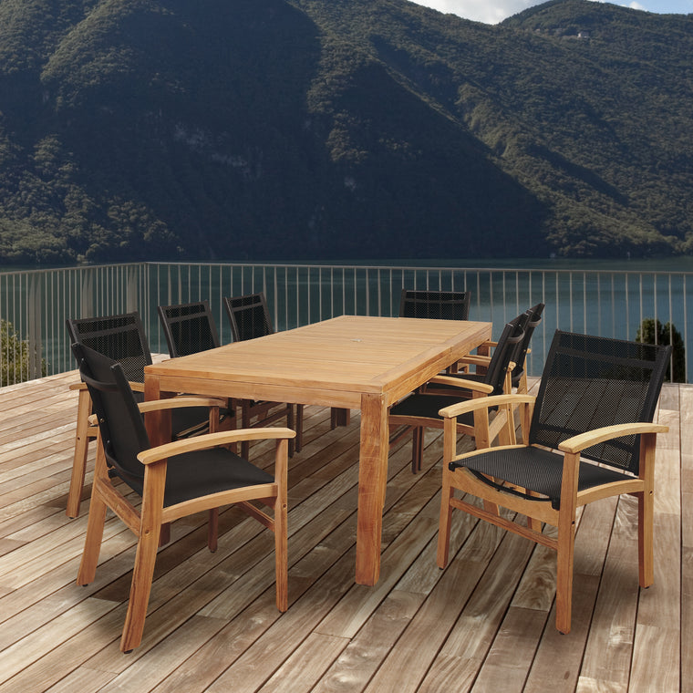 Amazonia Terrace 9 Piece Teak Rectangular Dining Set with Black Sling Chair , International Home Miami- grayburd