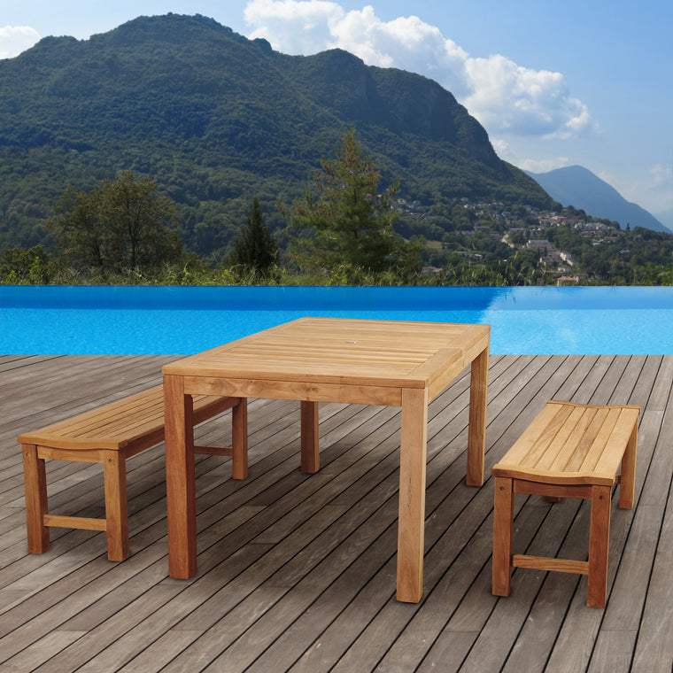 Amazonia Rinjani 3 Piece Teak Rectangular Dining Set , International Home Miami- grayburd