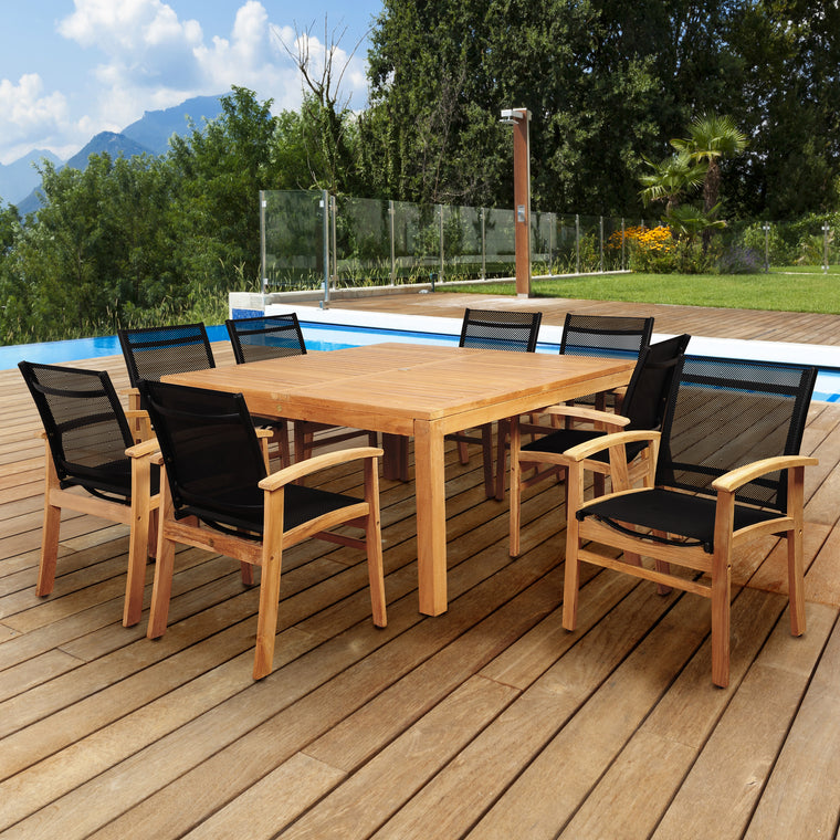 Amazonia Sunset View 9 Piece Teak Square Dining Set with Black Sling Chair , International Home Miami- grayburd