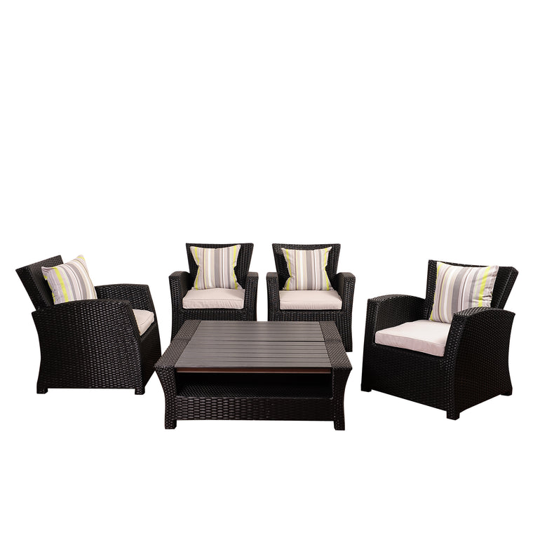 Atlantic Staffordshire 6 Piece Black Wicker Seating Set , International Home Miami- grayburd