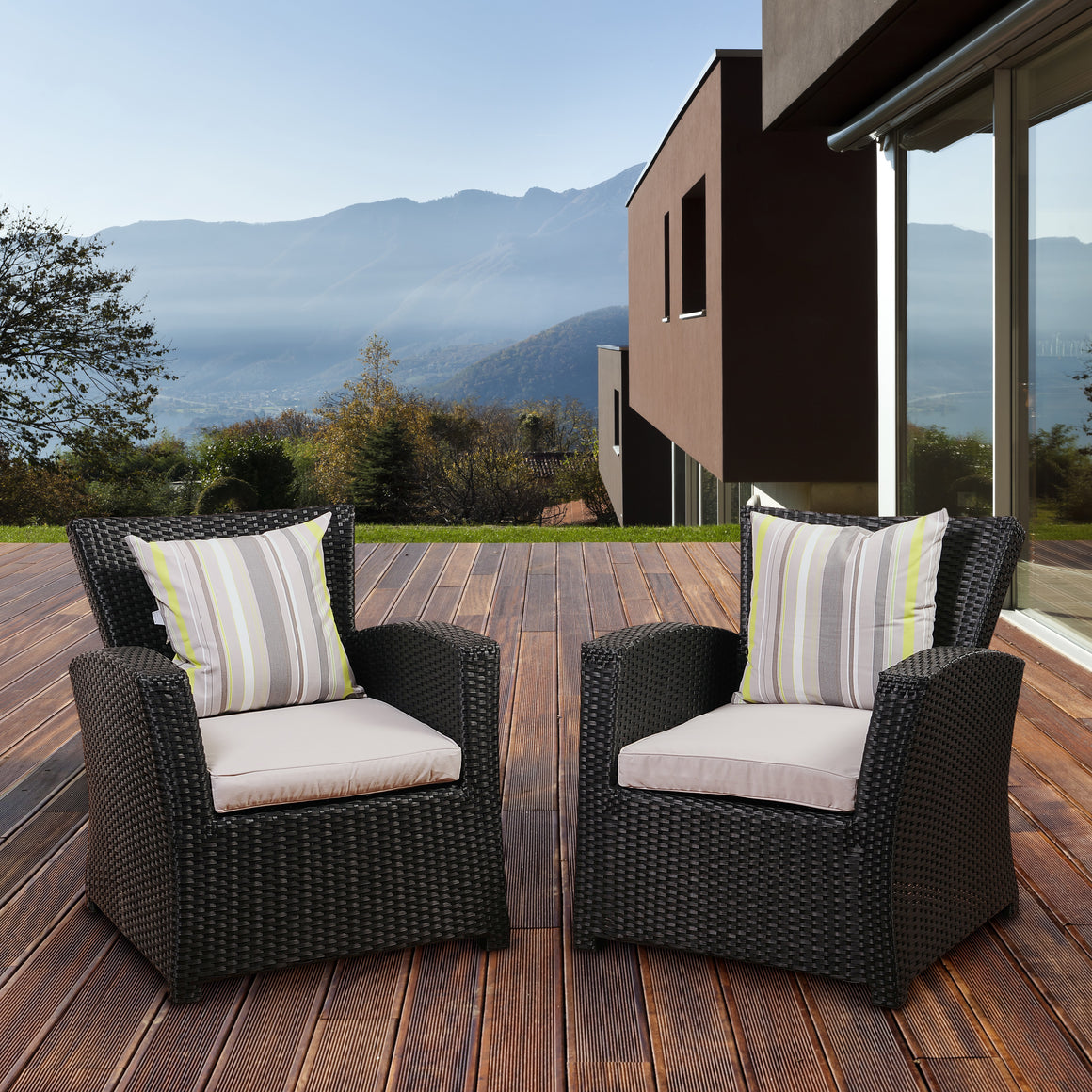 Atlantic Staffordshire 2 Piece Black Wicker Arm Chair Set , International Home Miami- grayburd