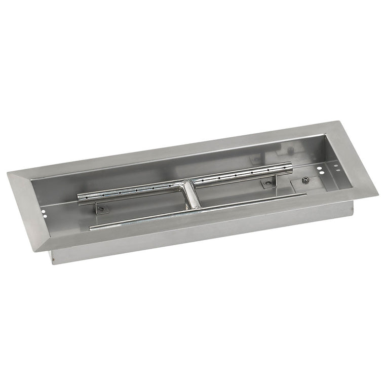 American Fire Glass - Drop In Fire Stainless Steel Burner Pan Pit (Rectangular Shape) , American Fire Glass- grayburd