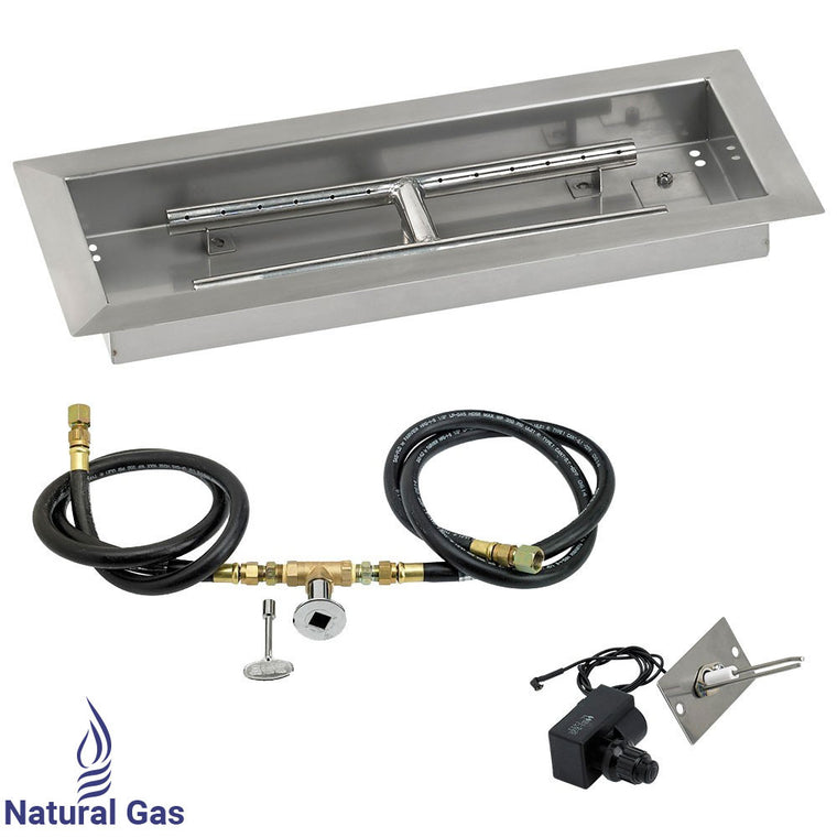 American Fire Glass - Rectangular Drop in Fire Stainless Steel Pit Pan (Spark Ignition Kit) , American Fire Glass- grayburd