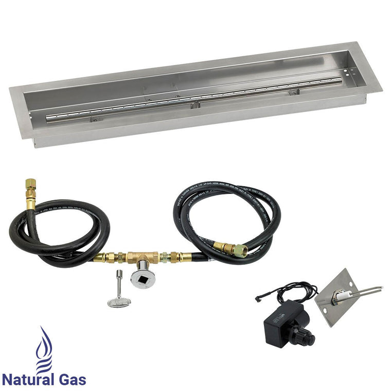 American Fire Glass - Drop-In Fire Stainless Steel Linear Pit Pan ( Spark Ignition Kit) , American Fire Glass- grayburd