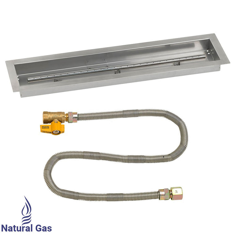 American Fire Glass - Drop-In Pan Stainless Steel Linear Channel (Match Light Kit) , American Fire Glass- grayburd