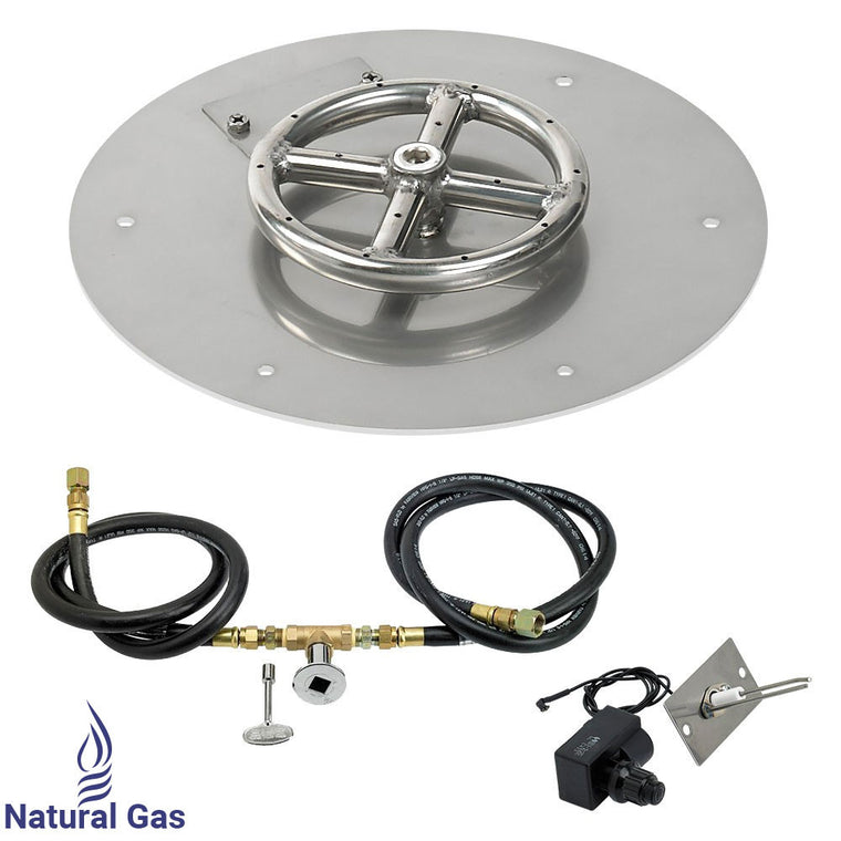 American Fire Glass - Flat Round Burner Stainless Steel Pan (Spark Ignition Kit) , American Fire Glass- grayburd