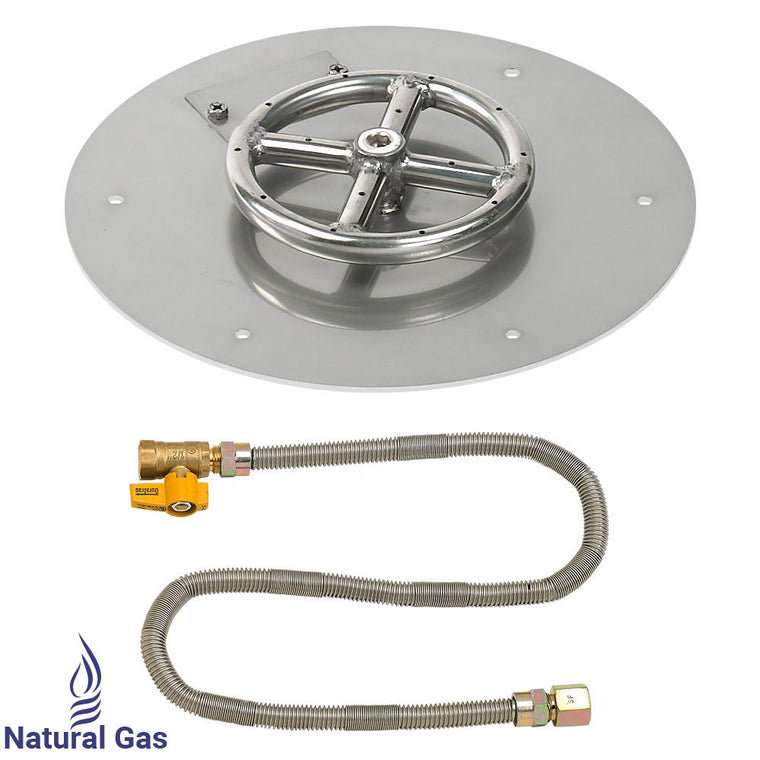 American Fire Glass - Ring Burner Round Stainless Steel Flat Pan (Match Light Kit) , American Fire Glass- grayburd