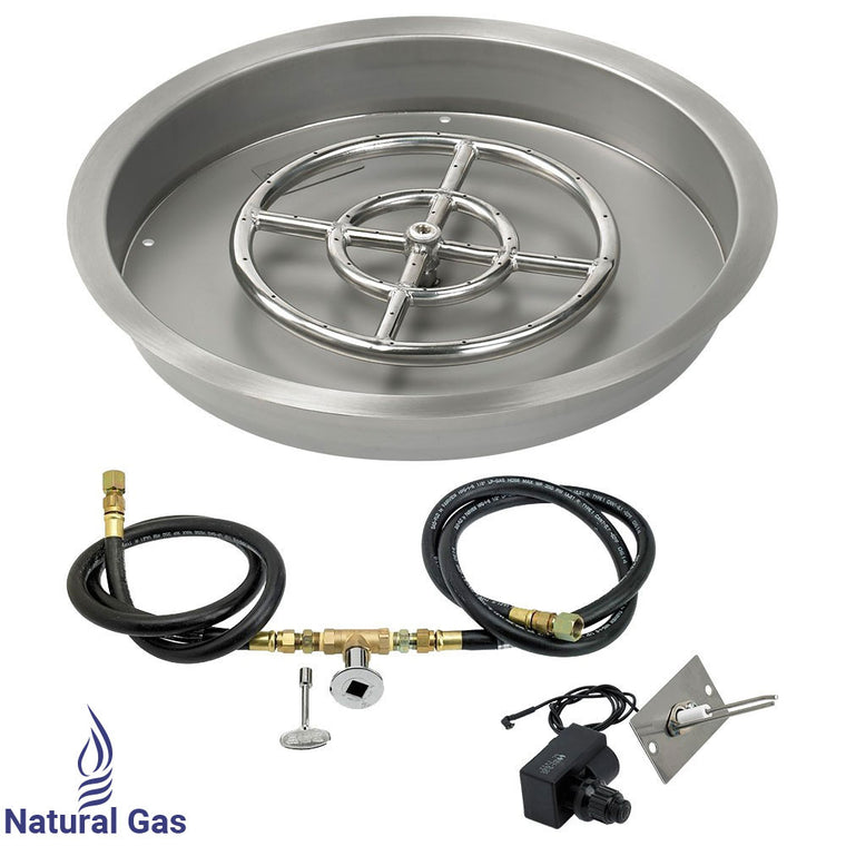 "American Fire Glass - Drop-In Fire Pit Round Pan with Spark Ignition Kit (12"" Ring Burner Included) , American Fire Glass- grayburd"