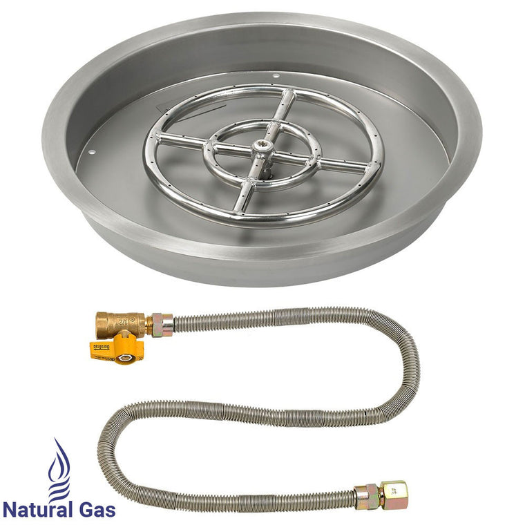 "American Fire Glass - Drop-In Round Pan with Match Light Kit (12"" Fire Pit Ring) , American Fire Glass- grayburd"