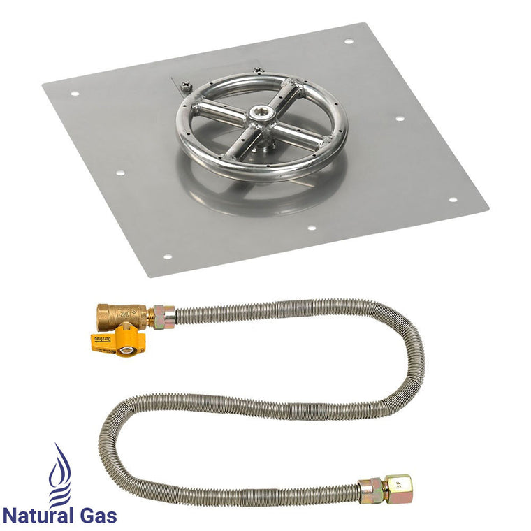 American Fire Glass - Ring Burner Sqaure Stainless Steel Flat Pan (Match Light Kit) , American Fire Glass- grayburd